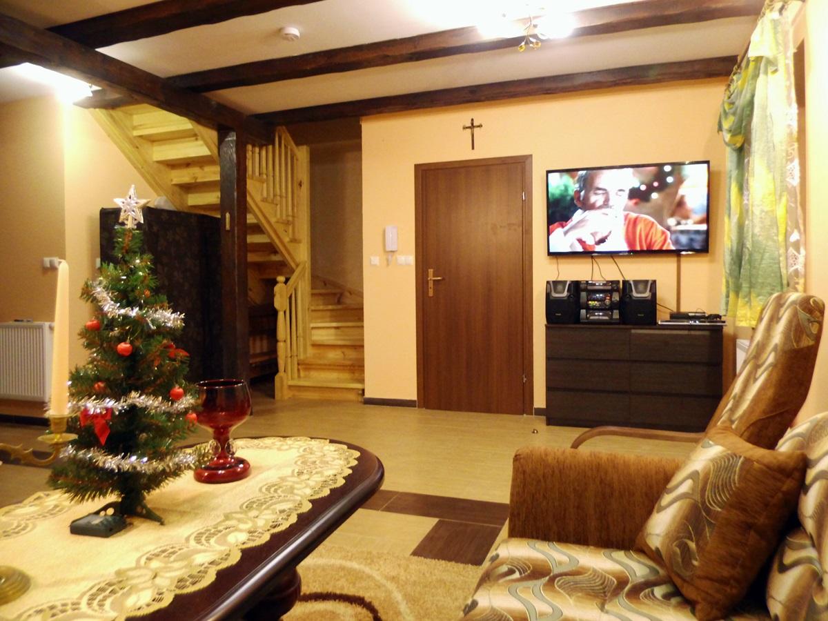apartament, maja, salon, święta, telewizor