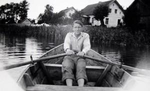 zdjęcie, historia, łódka, jezioro, wioślarz, domy, brzeg, kuty, mazury,