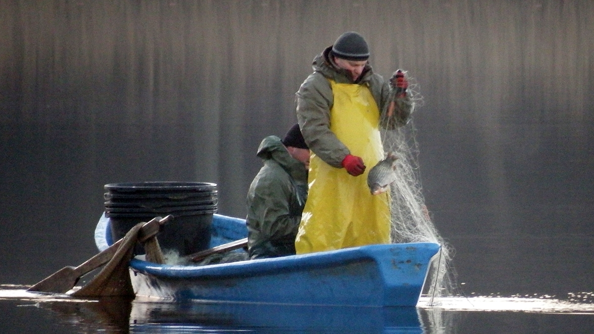 Rybacy łowiący sieciami na jeziorze