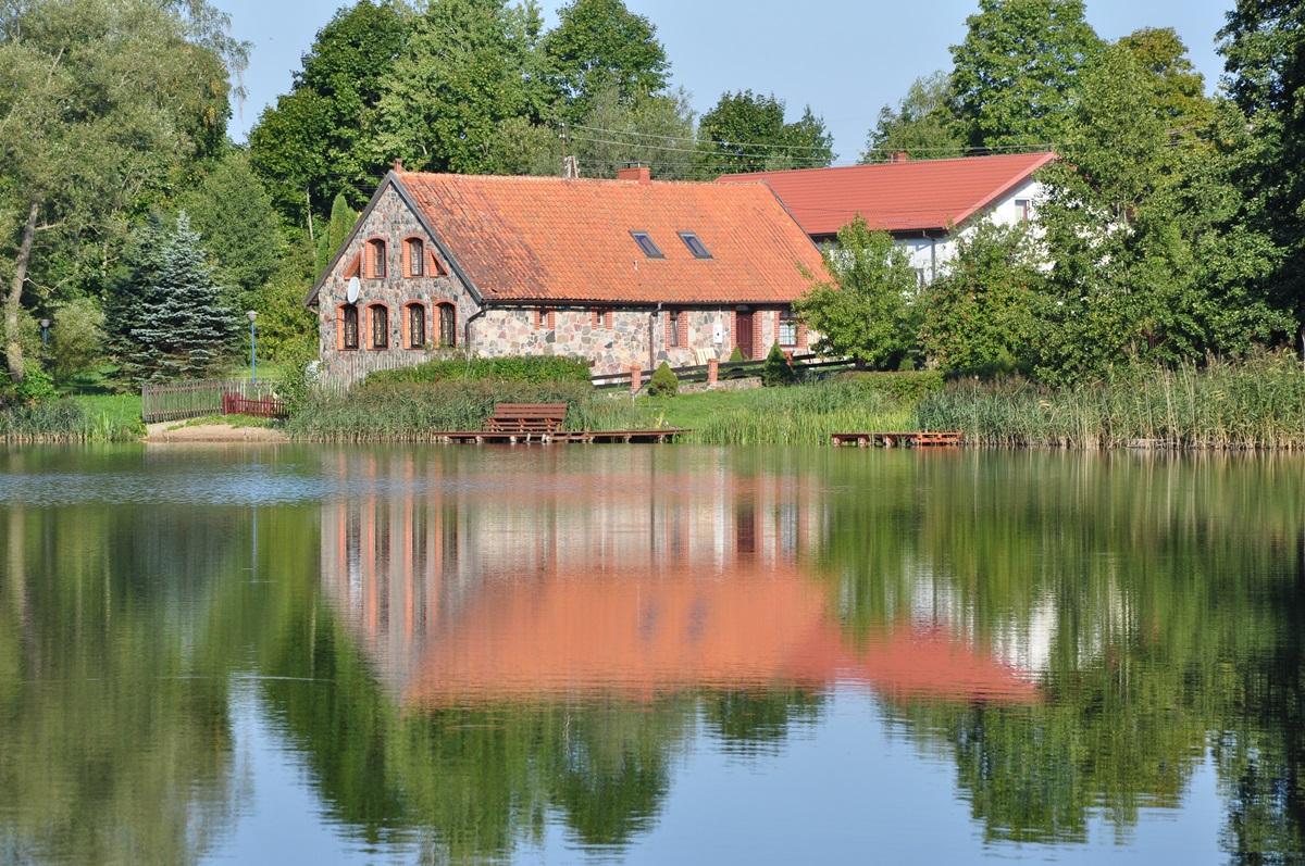 jezioro, woda, dom, widok