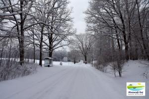 zima, droga, skrzyżowanie, krzyżówka, przytuły, kuty, mazury