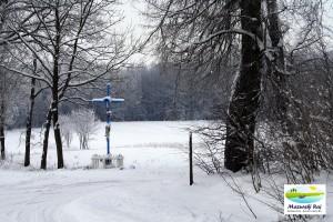 zima, krzyżówka, kapliczka, krzyż, przytuły, kuty, mazury