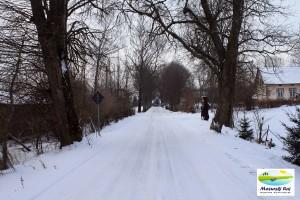 zima, wieś, gębałka, domy, drzewa