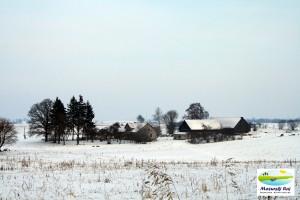 zima, lasy, łąki, domy, kolonia, dzicz, mazury