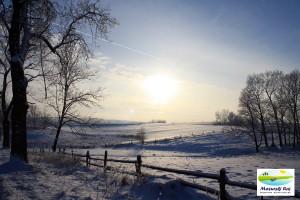 zima, mazury, pola, drzewa, zachód