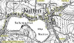 mapa, przedwojenna, kuty, kutten, wieś, domy, jezioro