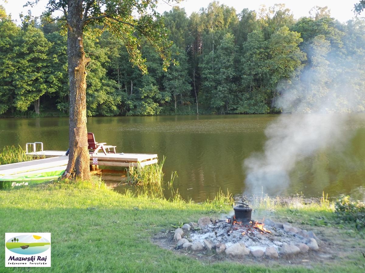 ognisko, nadbrzeże, jezioro, pomost
