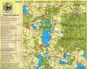 """Mapa całego szlaku """"Sladem mazurskich legend i opowieści"""""""