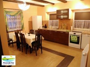 W kuchni lodówka, zmywarka, kuchnia z piekarnikiem (Mazurski Raj, apart.1 - Maja, salon)