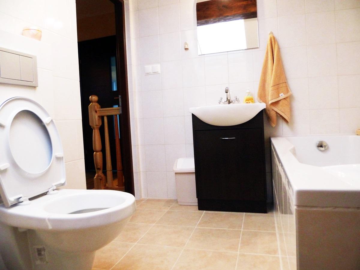 łazienka z wc, szafka z lustrem