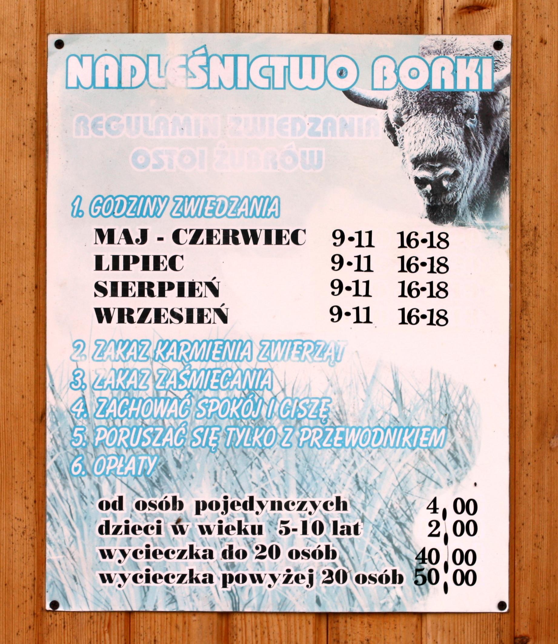 Ostoja żubrów w Wolisku - daty otwarcia oraz ceny biletów