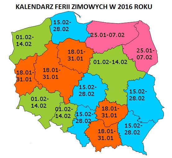 Kalendarz ferii zimowych 2016