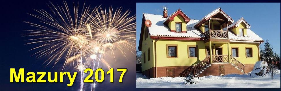 Ognie sztuczne, dom noclegowy Mazurski Raj - Luksusowa Turystyka w zimie, w śniegu; napis Mazury 2017