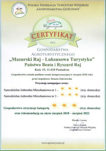Certyfikat dla Gospodarstwa Agrotustystycznego